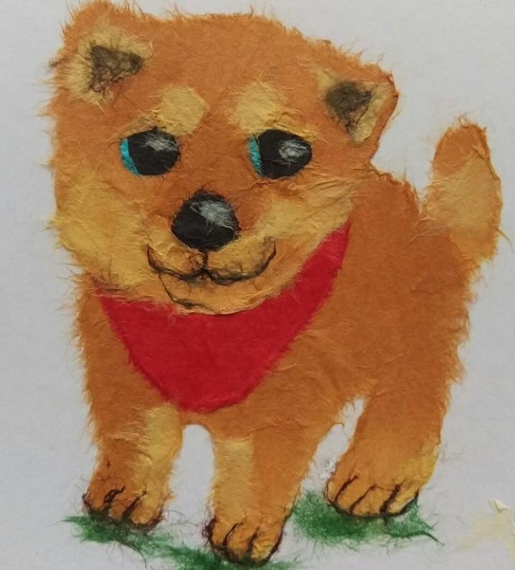可愛い芝犬の貼り絵